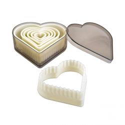 "Set 7 Cookie Cutters ""Heart Fluted"""