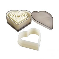 "Set 7 Cookie Cutters ""Heart Plain"""