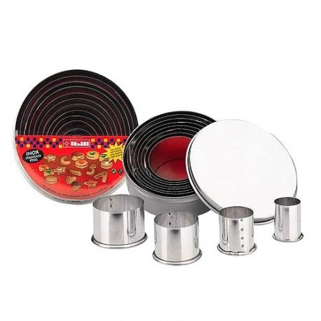 """Set 11 Cookie Cutters """"Round Plain"""" - Stainless Steel"""