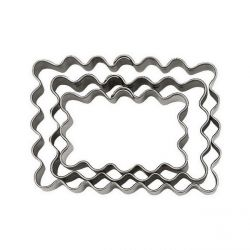 "Set 3 Cookie Cutters ""Rectangle"" - Fluted"