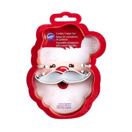 """Set de 2 emporte-pièces """"Père-Noël avec moustache"""""""