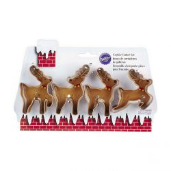 "Set 4 Cookie Cutters ""Reindeer"""