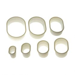 "Set 7 Cookie Cutters ""Oblong Plain"""