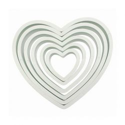 "Set 6 Cookie Cutters ""Heart"" - PME"