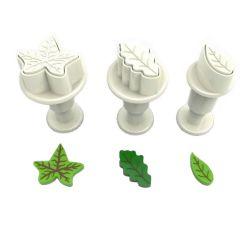 """Set 3 Plunger Cutters """"Leaf"""""""