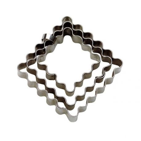 """Set 3 Cookie Cutters """"Square"""" - Fluted"""