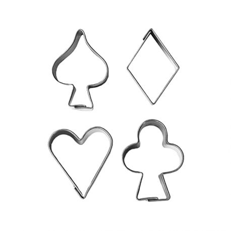 """Set 4 Cookie Cutters """"Card Suits"""""""